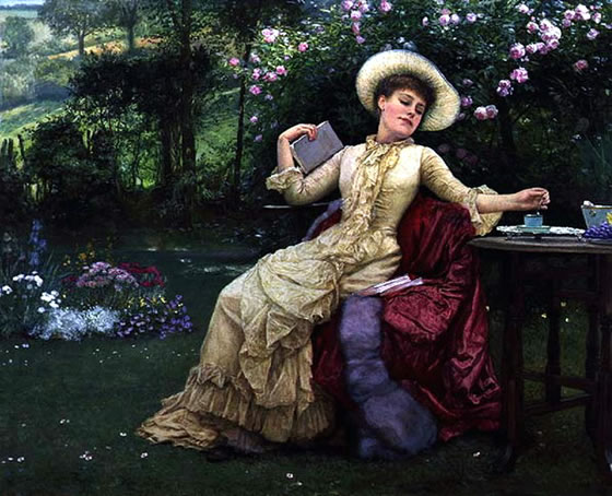 1-Drinking_Coffee_and_Reading_in_the_Garden_by_Edward_Killingworth_Johnson