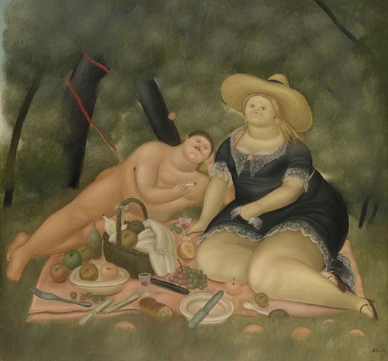 Fernando Botero desayuno sobre la hierba