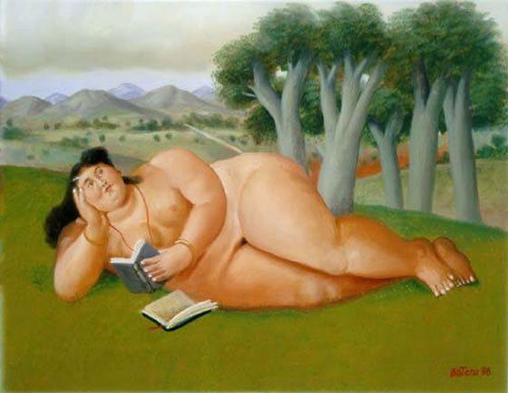 Mujer leyendo de Fernando Botero