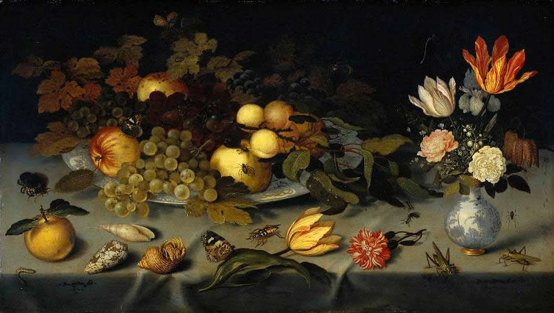 Balthasar van der Ast - Naturaleza muerta con frutas y flores