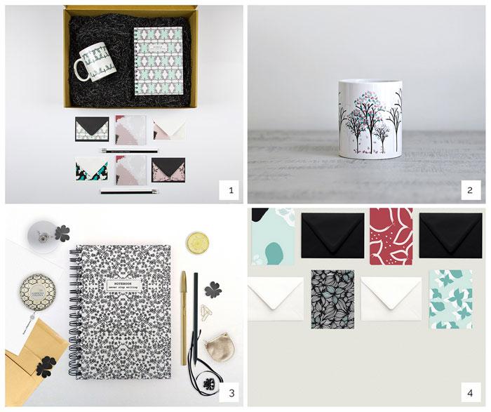 Caja Cenefas. 2- Taza El Ciclo del Árbol. 3- Libreta Tréboles. 4- Set de tarjetas Flores Enredadas