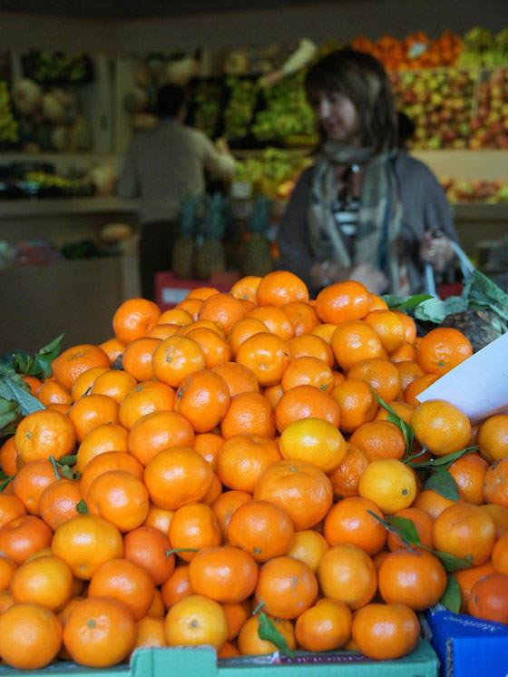 Cítricos en la frutería