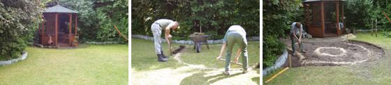 Construccion de un estanque de jardin con lamina, pasos 1, 2, y 3
