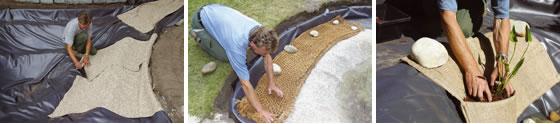 Construccion de un estanque de jardin con lamina, pasos 7, 8 y 9