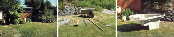 Pasos 1, 2 y 3 en la construcción de un estanque con cubeta