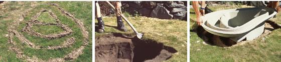 Pasos 4, 5 y 6 en la construcción de un estanque con cubeta