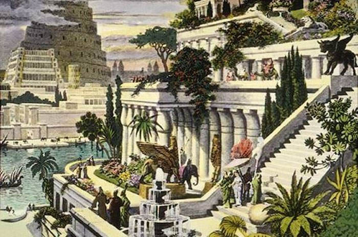 dibujo jardines de babilonia