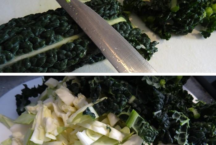 Kale y repollo verde para la sopa ribollita